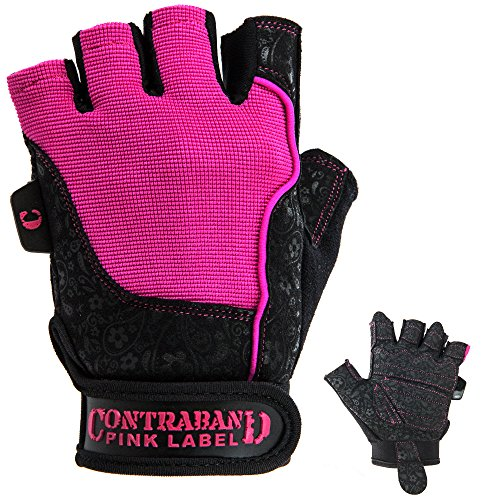 Contraband Pink Label 5127 Womens Vegan Weight Lifting Gloves w/Synthetic Microfiber Amara Leather (Pair) - Machine Washable Fingerless Workout Gloves Designed for Women (Pink, Small)