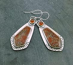 Red Petrified Palm Wood Carnelian Multi Stone Oxidized Sterling Silver Stamped Dangle Earrings