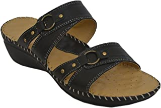Athlego Dr. Sole Women's Leather Slippers in Black Color