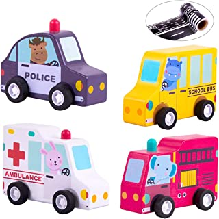iPlay, iLearn Baby Pull Back Car Play Set, Build Your Own, School Bus, Fire Truck, Emergency Vehicles, Wooden Safe Toy, Educational, Creative Gifts for 3, 4 Year Olds Kids, Toddlers, Boys, Girls