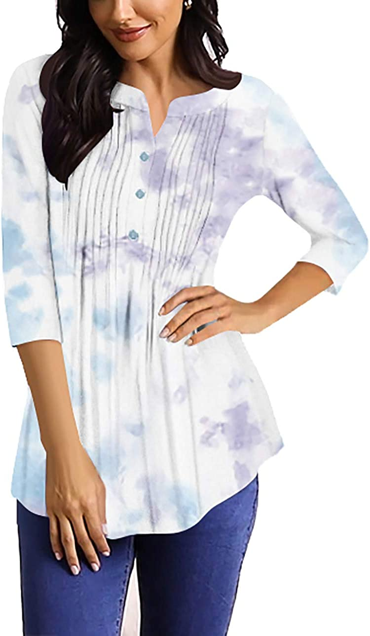 Shirts ! Super beauty product restock quality top! for Women Casual Comfy 3 Tops Sleeve Butto Safety and trust Tunic 4 Ruffle