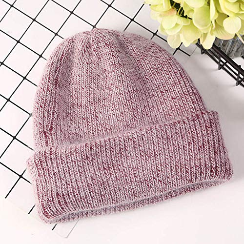 LJPHRR Winter-Strickmützen Für Frauen Beanie Hat Woman Cap Winter   Für Damen Hat 2019 Autumn Solid Bonnet,Wein,