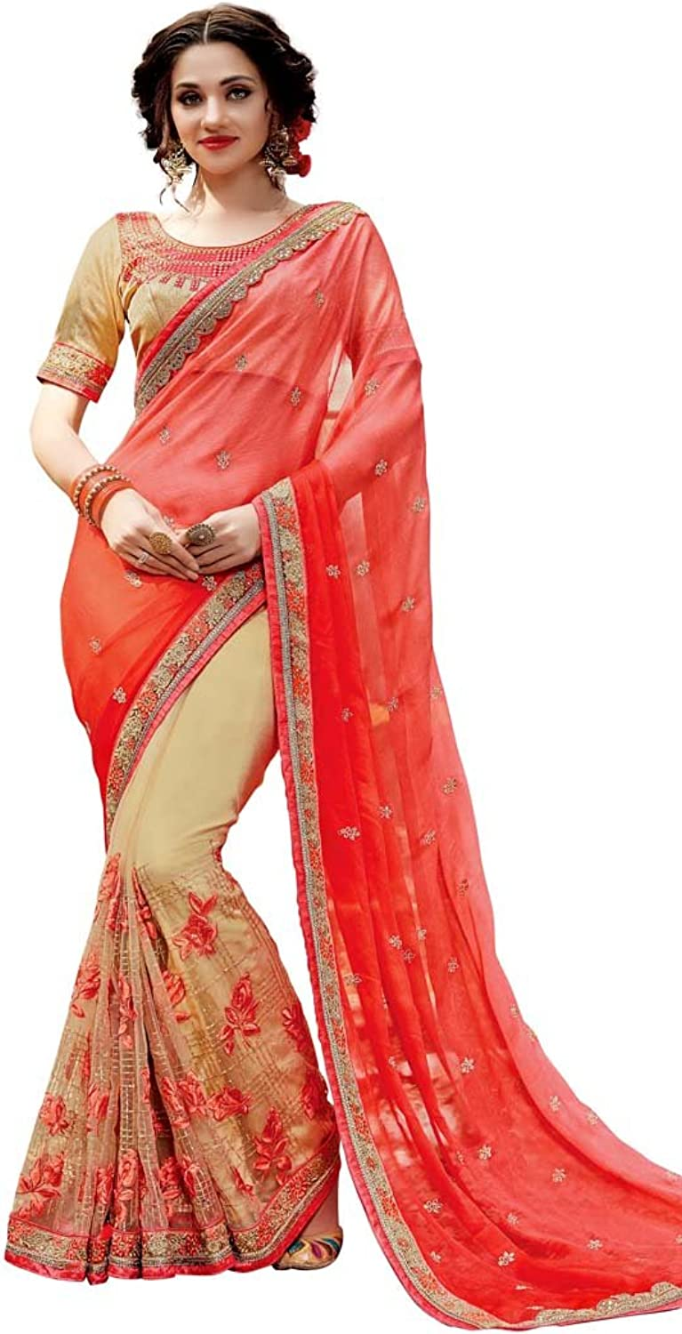 INMONARCH Womens Beige and Red Two Tone Designer Saree SRD19008A