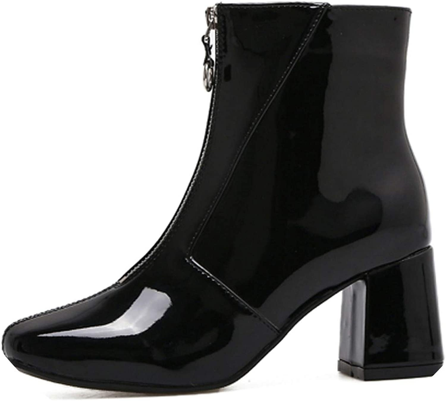 Fashion Chelsea Boots Low Heel Boots Zipper Women Round Toe Square Heel Patent Leather Boots