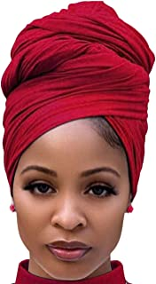 Head Wrap Scarf for African Black Women Cotton Light Turban Hair Tie Wear Band for Long Hair Braids Wine Red