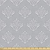 Ambesonne Damask Grey Fabric by The Yard, Vintage Repetitive Pattern with Flowers and Antique Motif, Decorative Fabric for Upholstery and Home Accents, 1 Yard, Purpleblue Taupe