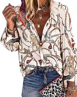 Macondoo Women Long Sleeve Print Stand Collar Plain Blouse Button Down Shirts
