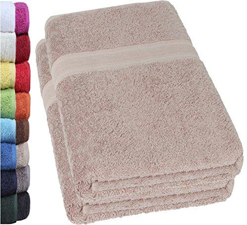 NatureMark 2er Pack DUSCHTÜCHER Premium Qualität 70x140cm DUSCHTUCH Dusch-Handtuch Doppelpack Farbe: Sand/Beige