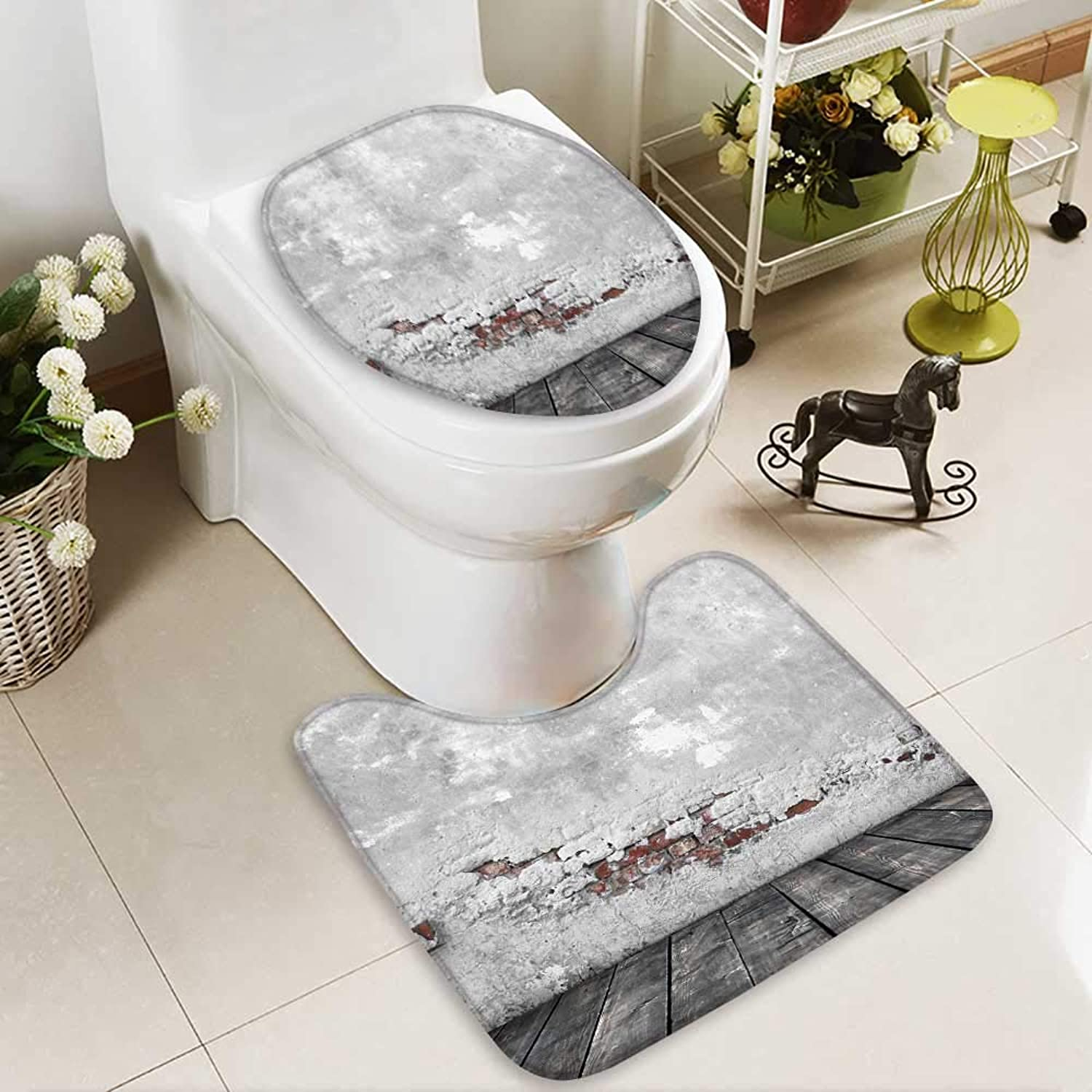 Bathroom Non-Slip Floor Mat Grunge Concrete Wall and Wood Floor with High Absorbency