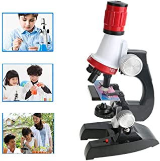 SNOWINSPRING Microscope Kit Lab Led 100X-400X-1200X Home School Science Educational Toy Gift Refined Biological Microscope...