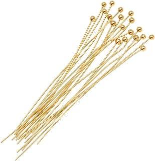 Beadaholique B21/112G 20-Piece 2mm Ball Head Pins, 21-Gauge, 1.5-Inch, Gold