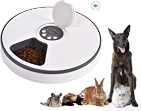Mingzheng PF6 Automatic Pet Feeder with Timer for Cats & Dogs, Suits Dry or SEMI Food for Kitten & Puppy, Portion Control, Dishwasher-Safe 2oz x 6-Meal, White