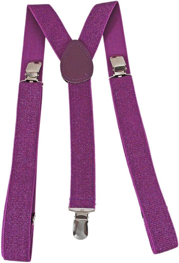 Purple Glitter Elastic Suspenders Braces Bling