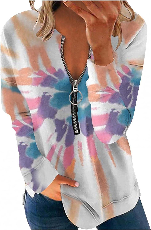 FABIURT Long Sleeve Shirts for Women,Womens Casual Loose Sweatshirt Tie Dye Printed Quarter Zip Pullover Tunic Tops Tee