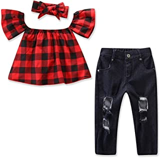 Toddler Girl Off Shoulder Plaid Ruffle T-Shirt Ripped Jeans Denim Pants with Headband Outfits Sets