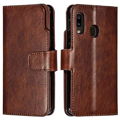 LLZ.COQUE - Funda de Piel para Samsung Galaxy (con Ranuras para Tarjetas, función Atril), diseño Vintage, Compatible con Samsung Galaxy S8 Plus (Fabricado en Cuero sintético; TPU.), Color marrón