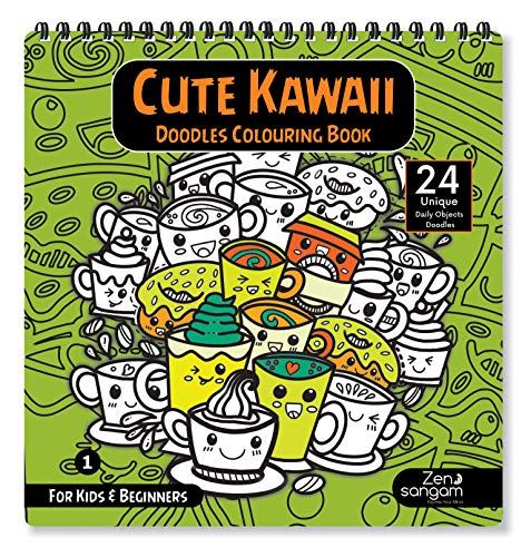 Zen Sangam Cute Kawaii Doodles Colouring Book for Kids and Beginners – 24 Unique Daily Object Doodles : Book – 2