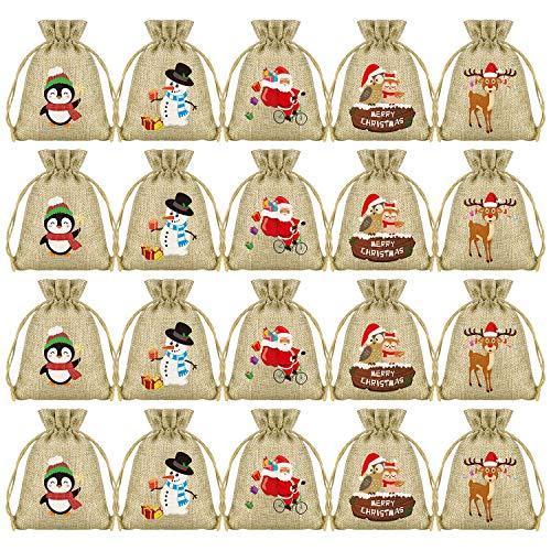 KUUQA 50Pcs Christmas Bags Burlap Christmas Drawstring Bags Small Christmas Jute Goodie Bags Bulk for Christmas Party Supplies