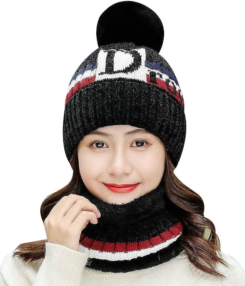 Womens Winter Beanie Hat Scarf Set 2pcs Warm Fuzzy Knit Hat Neck Scarves Set