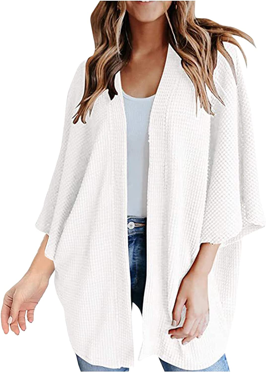 Women's Cardigan Sweater Kimono Open Front Cardigans Loose Waffle Knit 3/4 Batwing Sleeve Beach Cover Up Coat Blouse