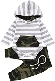 Yokidi Baby Boy Camouflage Overalls Newborn Infant Boy Long Sleeve Hoodie Romper Top + Camo Trousers Outfits Set