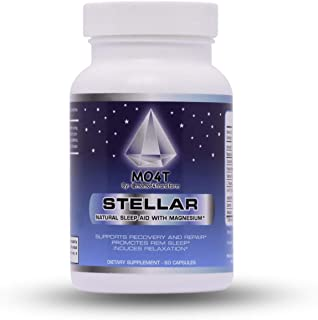 MO4T Stellar| Sleep Aid | Natural Non-Habit Forming |60 Capsules | Herbal: Valerian Root, Chamomile, Passion Flower | Melatonin, 5 HTP, GABA and L-theanine | Magnesium Citrate