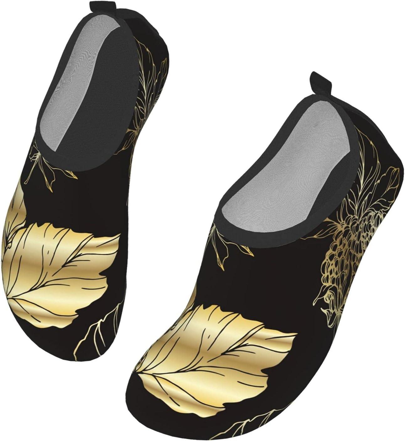 NA Golden Flower On Black Men's Women's Water Shoes Barefoot Quick Dry Slip-On Aqua Socks for Yoga Beach Sports Swim Surf