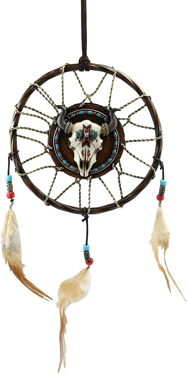 Horned Bison Steer Cow Skull with Beaded Feathers Louisville-Jefferson County Mall Dreamcatcher Recommended