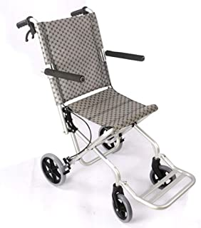 輸送車椅子折りたたみ式軽量アルミ合金素材フレームレザー防水生地ハンドブレーキ付き手動車椅子用旅行と保管