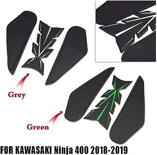 FATExpress for 2018 2019 Kawasaki Ninja 400 Ninja400 Traction Pad Adhesive Gel Anti Slip Sticker Side Body Fish Bone Tank Decal Protector 2018-up (Green)