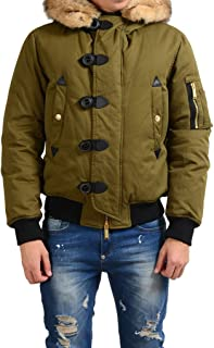 Dsquared2 Men's Green Rabbit Hair Coyote Fur Hooded Duck Down Jacket