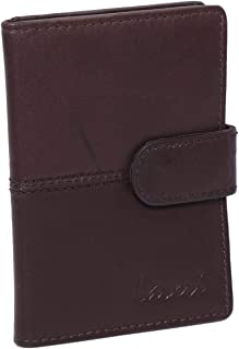 Laveri Genuine Leather Credit Card Holder Wallet Wallet and 20 Card Holder with Loop Button for Unisex - Leather, Brown