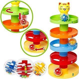 Coxeer Stacking Block Set Novelty Kids Ball Rolling Toy Building Block Set for Children