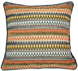 McAlister Textiles Curitiba Filled Pillow Orange & Teal Tribal...