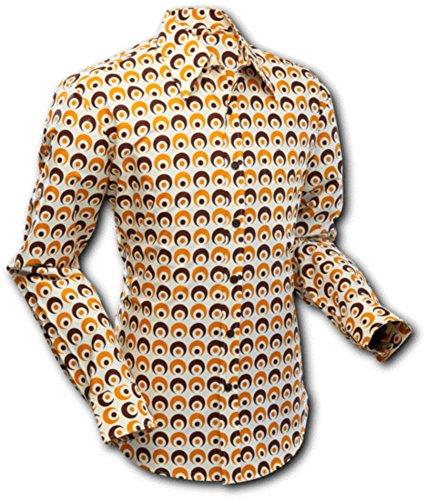 Chenaski 70er Jahre Hemd, Eyeball Creme-Brown-Yellow Size M