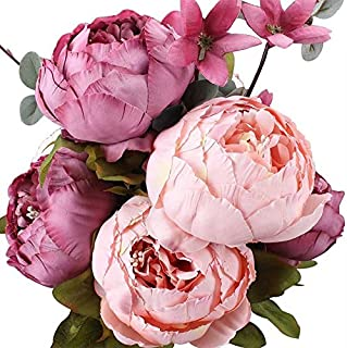 Fake Flowers Vintage Artificial Peony Silk Flowers Wedding Home Decoration Silk Peony Flowers Bouquet NEW Wholesale P25 Sweetened bean
