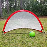 Hit Run Steal Portable Pop Up Soccer Goals Set of 2 - Two Folding Portable...