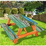 LEWIS FRANKLIN - Cortina de ducha tropical de lujo, mantel de mesa de picnic, diseño de árbol de la isla con bordes elásticos, 60 x 172 cm, juego de 3 piezas para mesa plegable