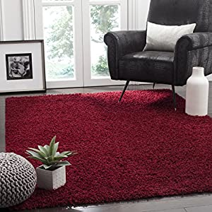 Safavieh Athens Shag Collection SGA119R 1.5-inch Thick Area Rug, 8′ x 10′, Red