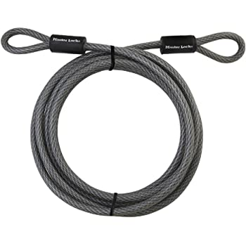 "Master Lock Cable, Steel Cable With Looped Ends, 72DPF,Black,15' x 3/8"" Diameter"