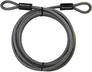 """Master Lock Cable, Steel Cable With Looped Ends, 72DPF,Black,15' x 3/8"""" Diameter"""