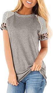 JomeDesign Casual Tops for Women Short Sleeve Leopard Print Patchwork Striped T-Shirt Blouses S-XXL