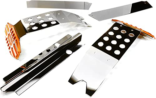 Integy RC Model Hop-ups C27189Orange Metal Complete Skid Plate Kit for Traxxas X-Maxx 4X4