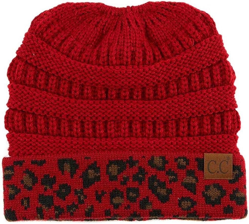 JINS CLOSET Women Soft Solid Knit Messy Bun Ponytail Beanie Hat with Leopard Cuff