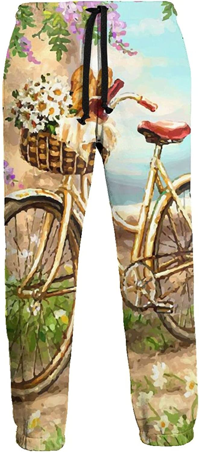 Active Sweats Jogger Pants Bicycle Daisy Flower Basket Running Joggers Casual Sweatpants for Men Women