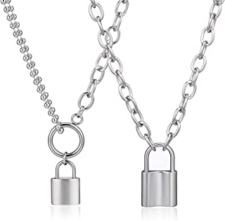 Silver Lock Pendant Necklace for Women Men,Padlock Chain Necklace Jewelry