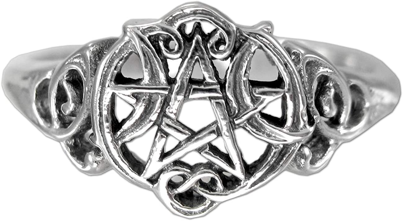 Sterling Silver Heart Pentacle cheap Wiccan 4-15 Pentagram Size Ring Max 68% OFF