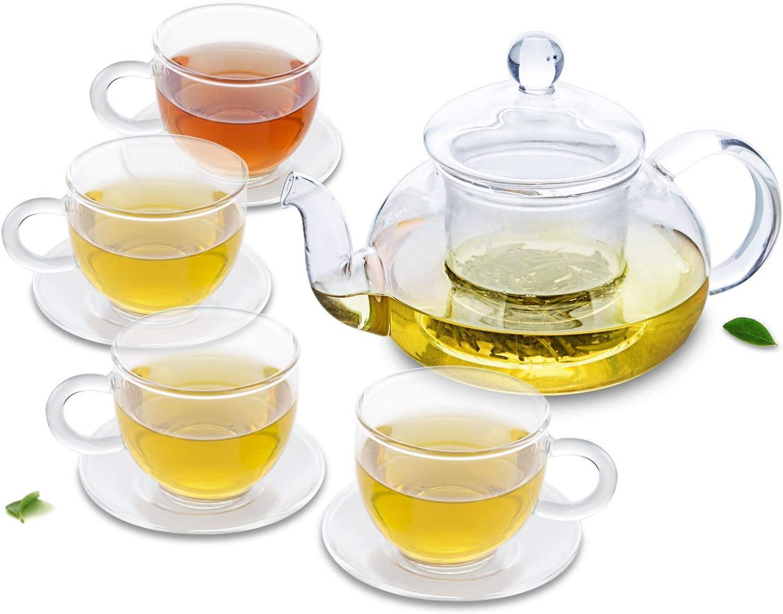 Quantity limited HOMUREN 8in1 Tea Set -680ml Clear Heat Max 79% OFF Resistant Glass Pot+4