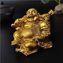 Golden Sitting Maitreya Laughing Buddha Statue Sculptures Figurines Home Decoration Buddha Statues