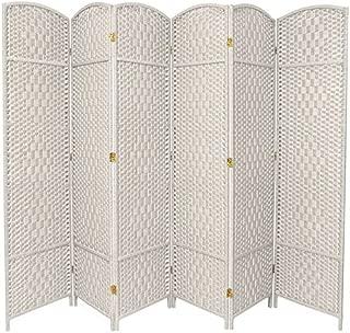 Oriental Furniture 7 ft. Tall Diamond Weave Room Divider - White - 6 Panels